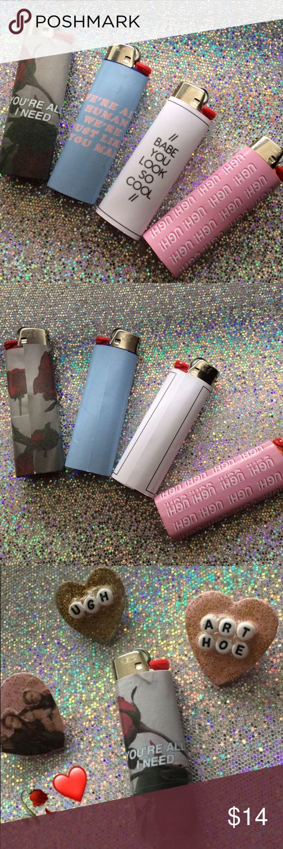 ✨ The 1975 Inspired Lighters ✨ the lighters available: Ugh! You're all I need Babe you look so cool We're all human we're just like u man  ♡ these are bic lighters & these vinyl stickers are made good to be on the lighter good so they don't melt or come off.  ♡ I do not give refunds or cancel customs, once the item is shipped i can't cancel.   ♡ if an item is damaged or lost, if the sticker comes off let me know and show proof!  ♡ PLEASE KNOW I FOUND ALL MY STUFF ON TUMBLR OR GOOGLE…