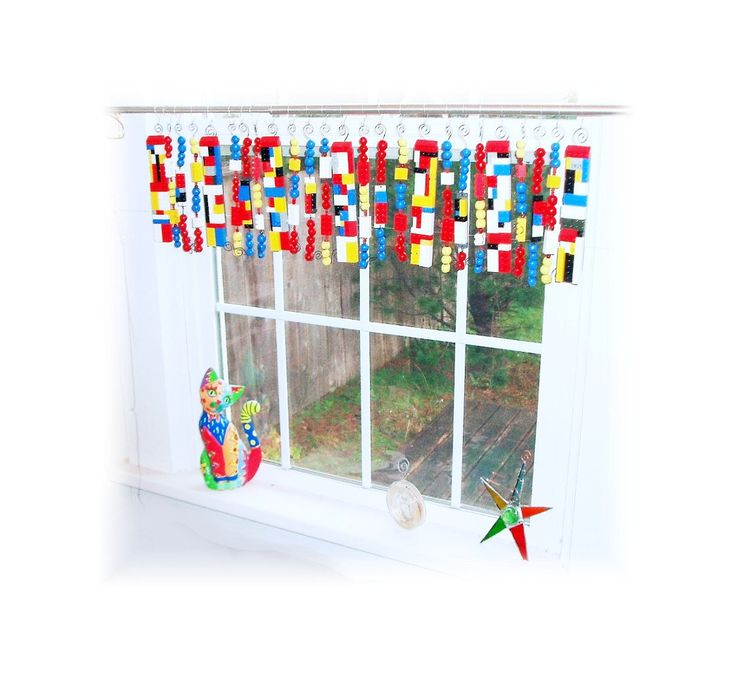 Upcycled lego valance window treatment etsy lego for Kid curtains window treatments