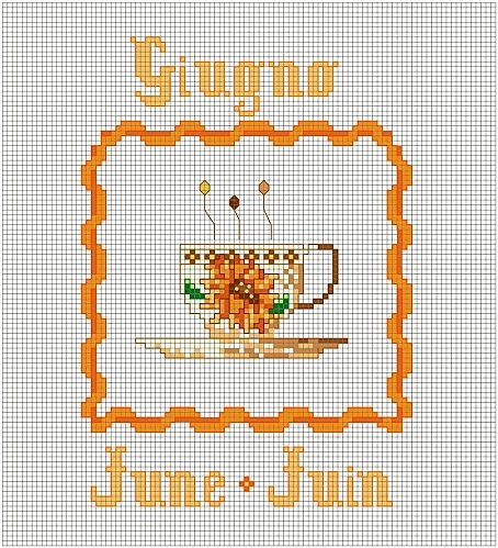 June Cross Stitch pattern - one of a set - patterns for each month of the year