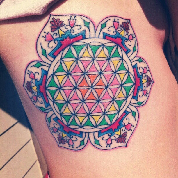 geometric flower tattoo color - photo #27