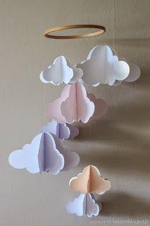 DIY : mobile nuage en papiers (pour Melody)