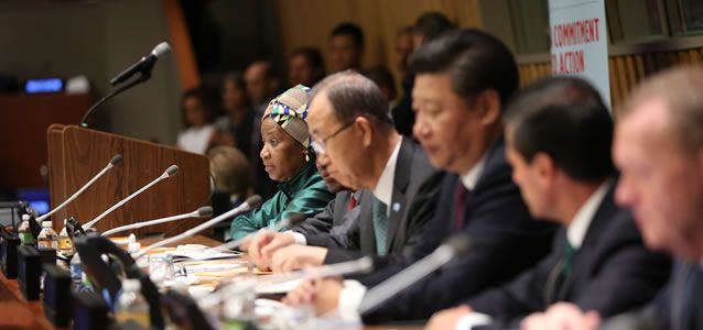 """UNWomen: World leaders commitment to end gender discrimination by 2030  World leaders convene at the United Nations on 27 September 2015 for the """"Global Leaders' Meeting on Gender Equality and Women's Empowerment: A Commitment to Action"""" to personally commit to ending discrimination against women by 2030 and announce concrete and measurable actions to kick-start rapid change in their countries."""
