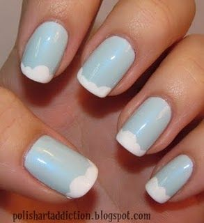 Cloudy Sky nails: Polish Art, Clouds Nails, Cloudy Sky, Nails Art, Blue Sky, French Manicures, Nails Polish, French Tips, Rain Drop