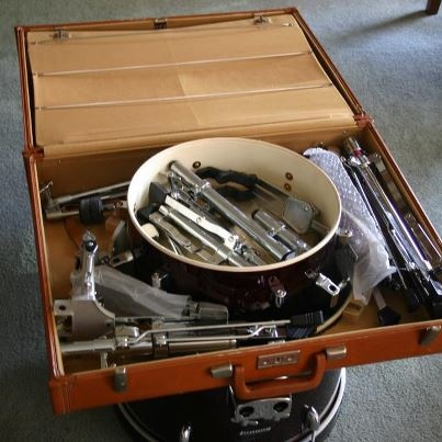 """""""Ken Preece's iCoustic Suitcase unpacks into a full drum set. And as you can see from the video posted on his Facebook wall, it plays well, too."""""""