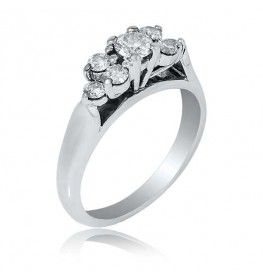 0.45 CTTW Multi-Stone Diamond Ring in 18K White Gold