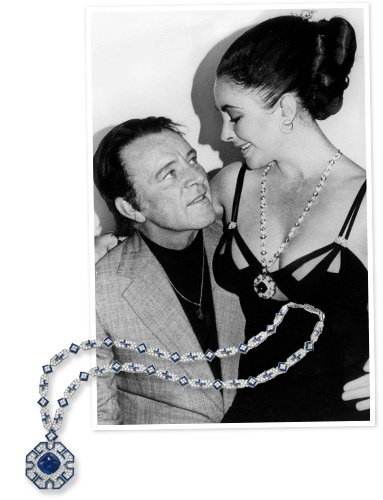 Richard Burton gave Elizabeth Taylor several stunning jewels for her 40th birthday. One of the masterpieces among them was this Bulgari sapphire and diamond pendant. The stunning jewel is over 29 inches long. The sugarloaf cabochon at the center of the design is 52.72 carats.