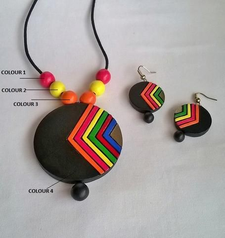 Round Multi-Coloured Terracotta Jewelry set