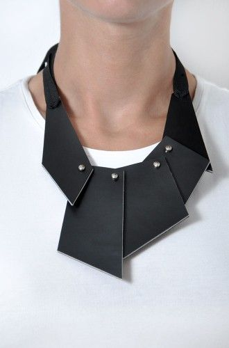 Aumorfia | puzzle | leather necklace, geometric, black, minimal, modern, asymmetry