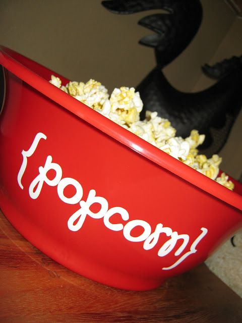 Ginger Snap Crafts: take a look {popcorn bowl} way fun gift idea! personalize the bowl and fill with a fun movie and treats!