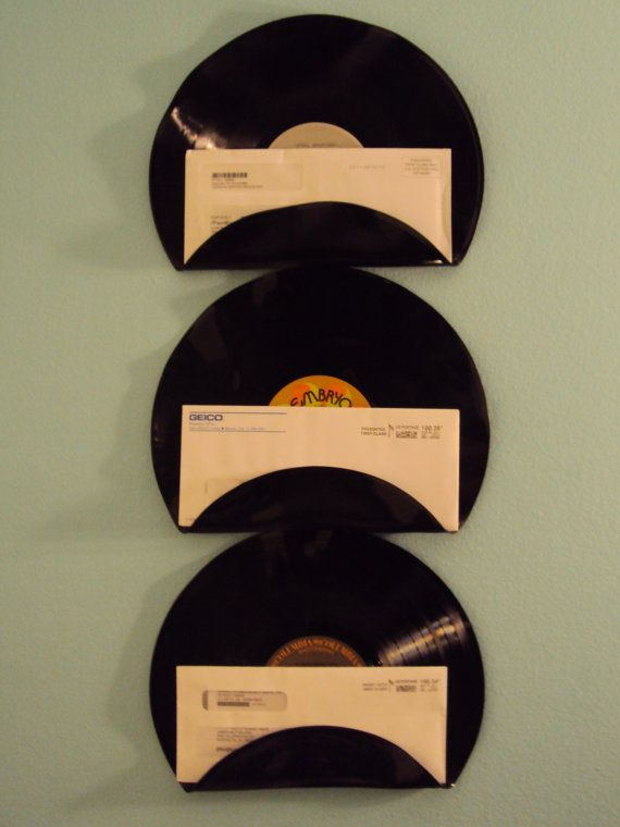 Rock n Roll Music Lover Vinyl Record Mail Holders Office Mail Organizer Set of 3. $29.00, via Etsy.