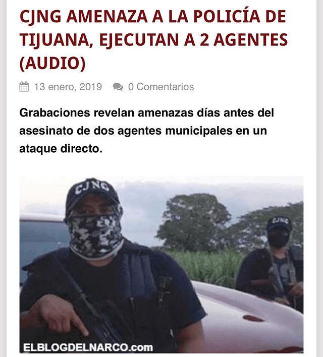 CJNG amenaza a la policía de Tijuana ejecutan a 2 agentes