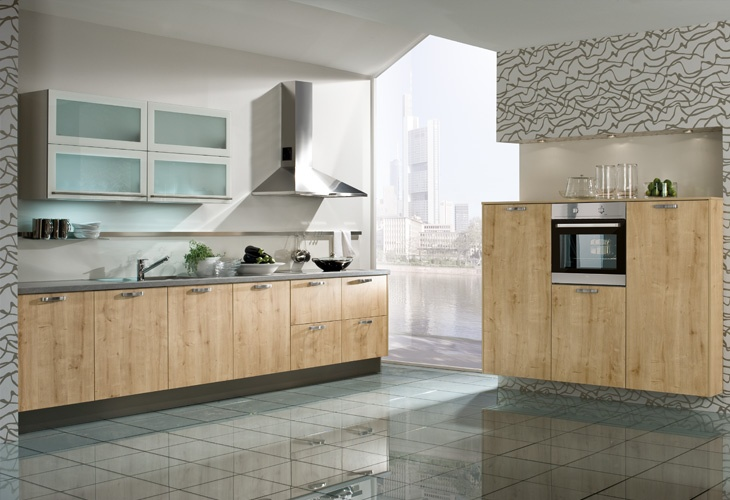 #Küche in hellem Holz #Holzküche #Küchenzeile www.dyk360-kuechen.de