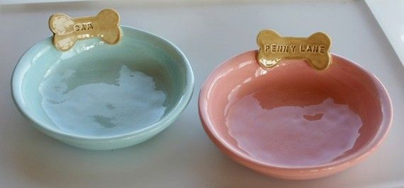 Set of 2 Personalized Ceramic Dog Bowls or Dishes...how presh for my furbabies! ~ Sunshine Ceramics on Etsy