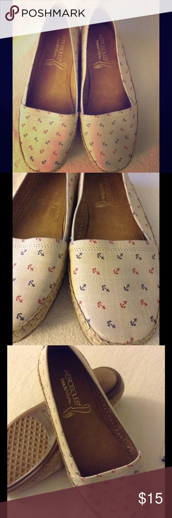 Aerosoles cute anchor shoes These aerosoles are tan in color with blue and red anchors AEROSOLES Shoes Flats & Loafers