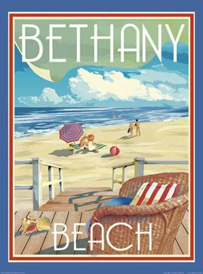 USA - Delaware - Bethany Beach Vintage style travel poster