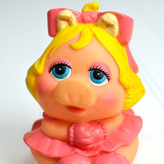 103 Best Images About The Muppets On Pinterest: Miss Piggy Retro Muppet Baby Rubber Squeaky Toy For Bath