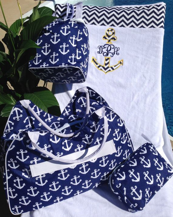 3 Pc  Anchors Away  Trio Navy Nautical Beach by GebbiesEmbroidery, $49.99