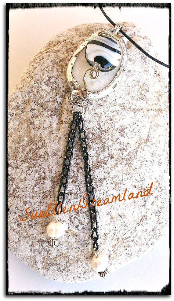 1  Sea pebble Pendant eco friendly jewelry by SueEllenDreamland