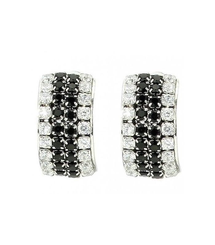 Zwart met zilverkleurige strass steentjes oorclips | Mooie heldere oorclips | Lengte van de clip oorbel is 1,5 cm. | EAN: 0000150730017 | Behave sieraden