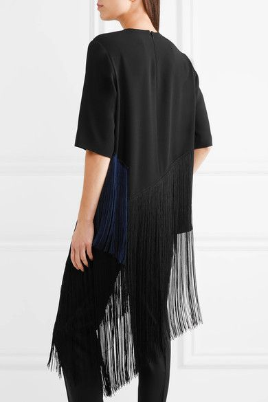 Stella McCartney - Edith Two-tone Fringed Crepe Top - Black - IT40