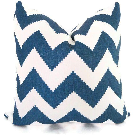 Jonathan Adler Marine Blue Chevron Decorative Pillow Cover, Throw Pillow, Accent Pillow, Toss Pillow