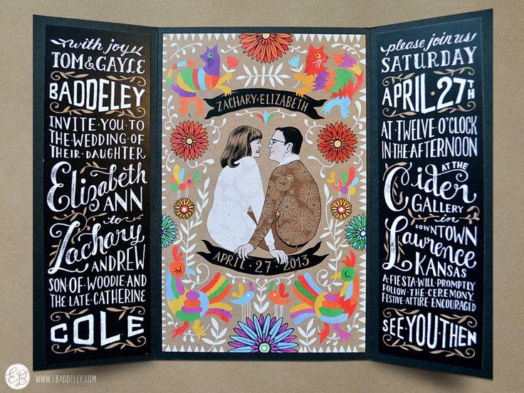 Tri-fold wedding invitation by elizabeth baddeley illustration