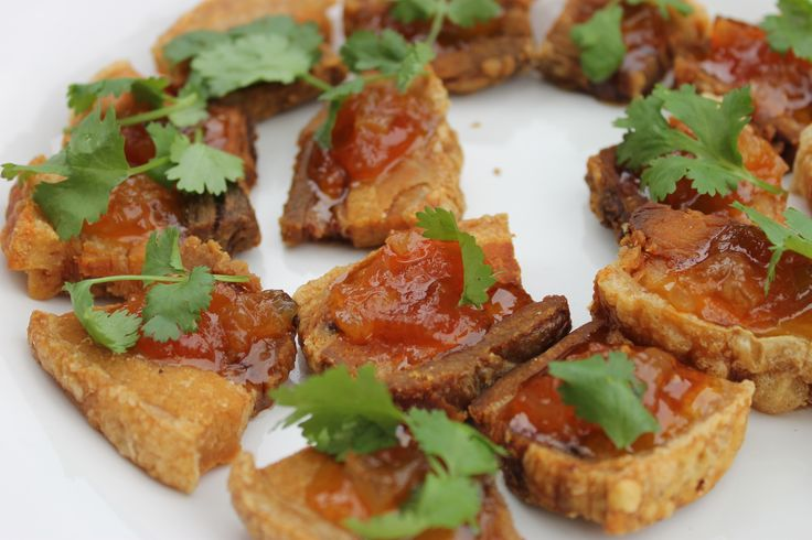 crispy pork belly with a tomato salsa @ 96 Winery Road