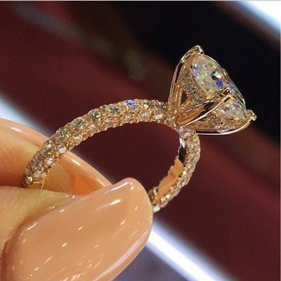 New Fashion Luxury Full Rhinestone Rings CZ Diamond Engagement Bridal Wedding Rings Jewelry Accessories Gift Bague Femme