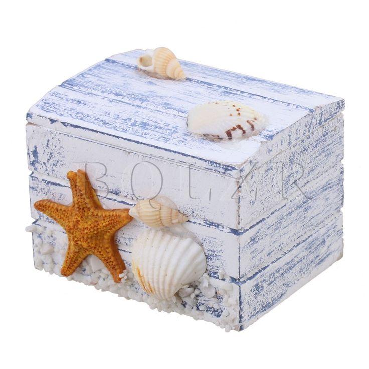 BQLZR Wooden Case Storage Box for Necklaces Ring Souvenir Mediterranean Starfish Style