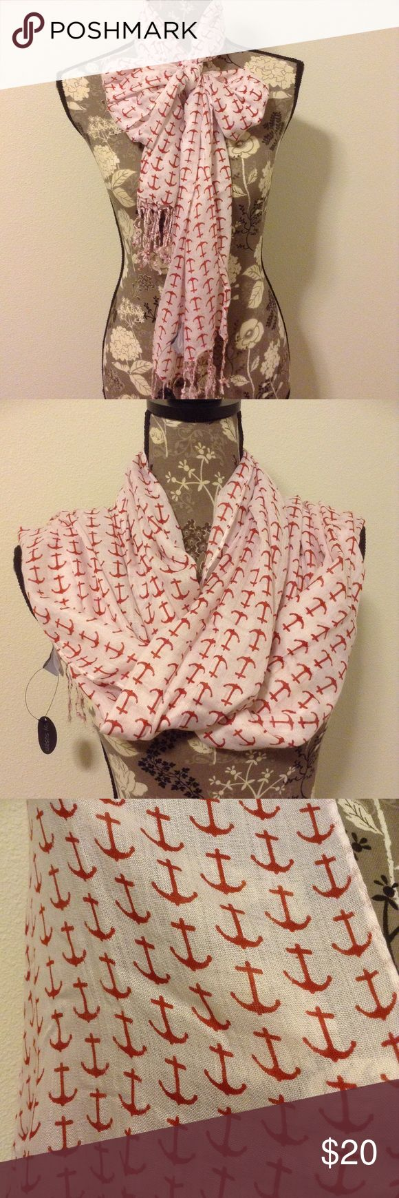 Red and white anchor scarf White scarf with red anchors. Fringed ends. Lightweight. Brand new with tags. Joy Susan Accessories Scarves & Wraps