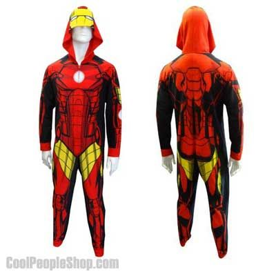 $38.00 Iron Man Onesie Pajama | Cool People Shop Tony Stark is known for his general narcissism, so there is a pretty good chance that you could catch Tony wearing Iron Man Onesie Pajama!  Our guess is that Stark Industries had something to do with designing Iron Man Onesie Pajama. That's just us thinking out loud though. The Iron Man Iron Man Onesie Pajamas are adult sized unisex PJs.  #ironman #onsie #pajamas #tonystark #robot #sleeping #sleep #cool #pjs