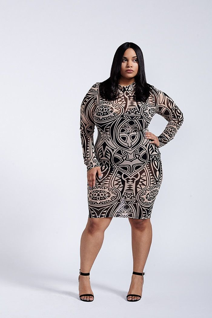 hedonism tribal print mesh black and taupe long sleeve bodycon