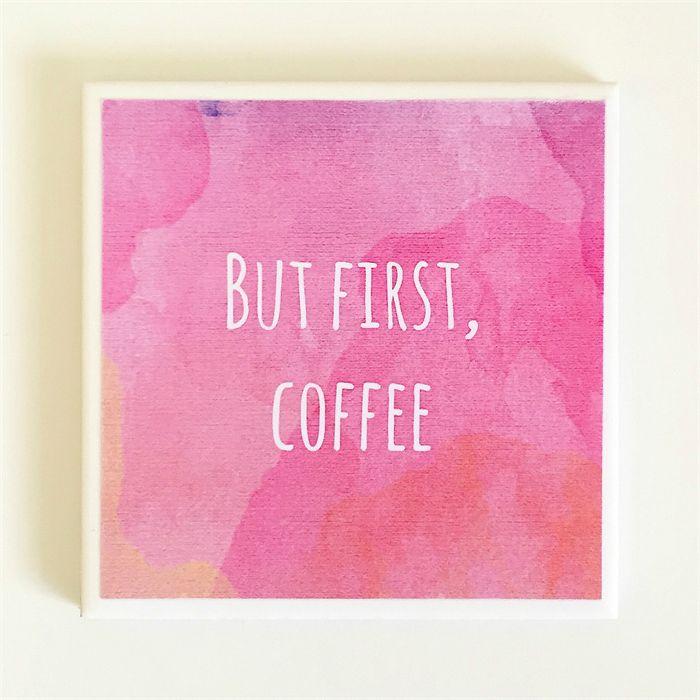 Coffee Quote Coaster - 1 Watercolour Ceramic Tile Drink Coaster   Studio Astratta   madeit.com.au