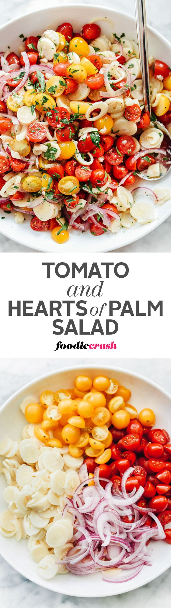 This tomato and hearts of palm salad takes just 10 minutes with a sharp knife for a little slicing and chopping to pull together and is the perfect addition to any potluck barbecue | http://foodiecrush.com
