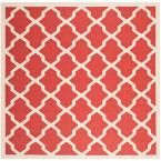 Courtyard Red/Bone (Red/Ivory) 7 ft. 10 in. x 7 ft. 10 in. Indoor/Outdoor Square Area Rug