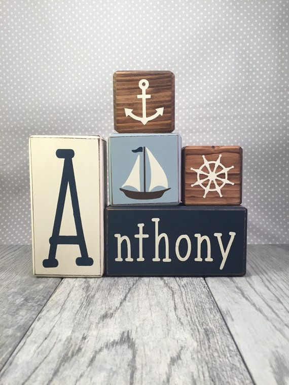 Nautical nursery decor custom personalized baby gift shower gift birthday new parents boat ship anchor unique wood blocks distressed rustic