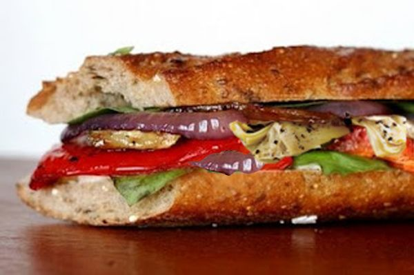 A Profound Hatred of Meat: Roasted Vegetable Baguette with Parlsey Pesto