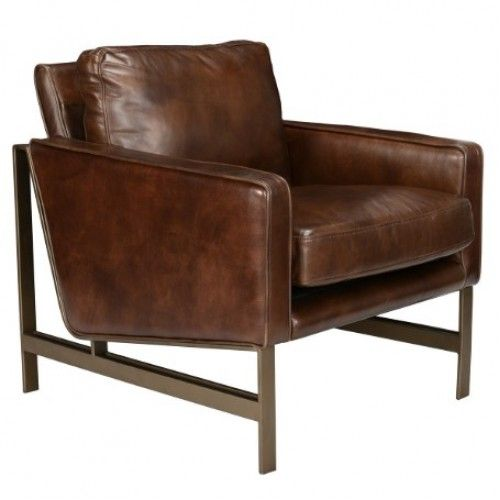 Brown Leather Brass Finish Square Base Amp Legs Club Chair