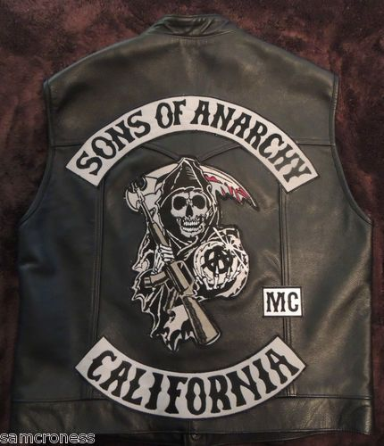 Sons of Anarchy Cut SAMCRO Leather Vest Biker SOA Colors MC OMG | eBay
