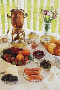 Continental Breakfast Buffet Table/ would love a coffee pot like this for parties