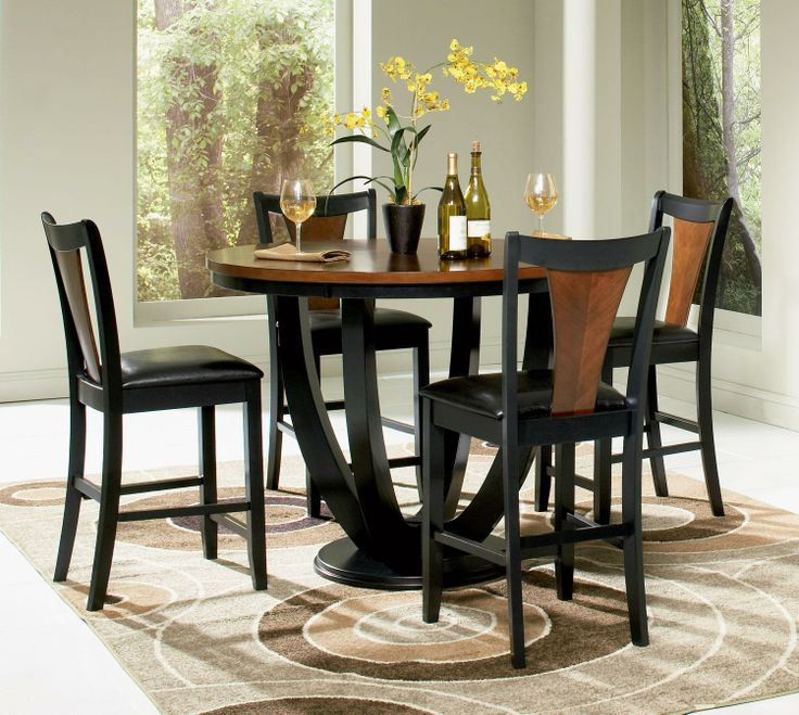 Nice Counter Height 5 Piece Dining Set | Boyer 5 Piece Counter Height Dining Set  In Black