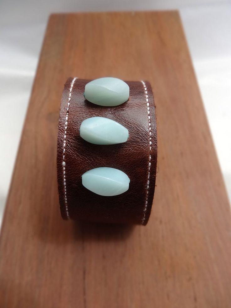 Leather and Amazonite wrist cuff bracelet by thingsofgemstone on Etsy