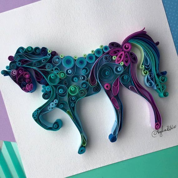 Quilled Horse by AngelicaBoteroArt on Etsy