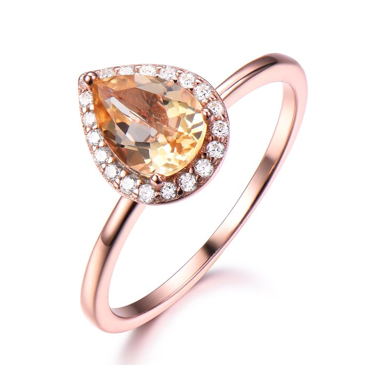 Cheap Rings, Buy Directly from China Suppliers:Yellow Citrine Engagement Ring 14k Rose Gold Pear Shape Diamond Halo Wedding Bridal Anniversary Gift Women Men Ring Natural Ring