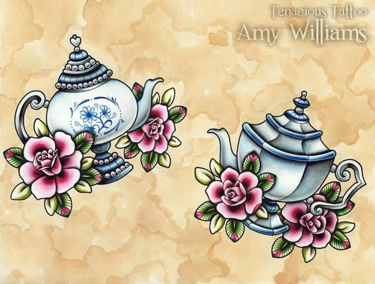Tattoo Tattoo Tattoo - Vintage - Tea Pots - Pink Roses