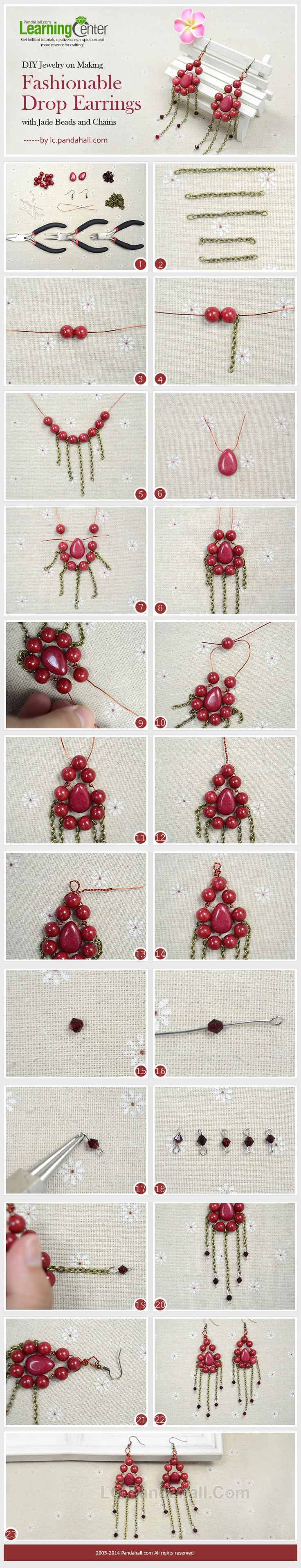 DIY Jewelry on Making Fashionable Drop Earrings with Jade Beads and Chains