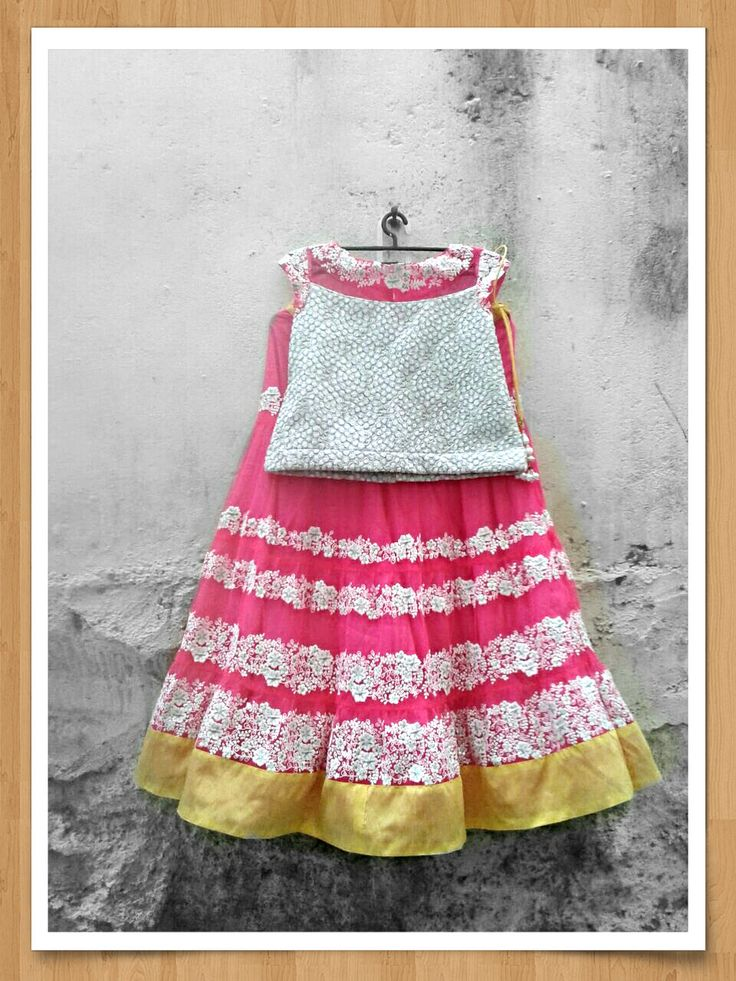 Pearl white and rose pink lehenga for 67 year old girls by Sravams, $140.00
