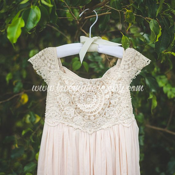 Beige Tan Crochet Flower Girl Dress, Shabby Chic Ivory Dress, Rustic Wedding Dress, Vintage Girls Dress, Champagne Flower Girl Dress