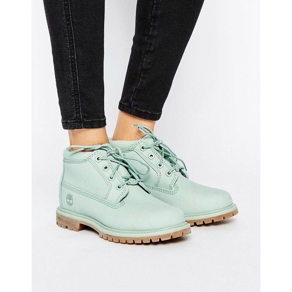 Timberland Nellie Chukka Double Mint Green Lace Up Flat Boots (1 380 SEK) ❤ liked on Polyvore featuring shoes, boots, green, lace up boots, chukka boots, laced up boots, waterproof chukka boots and green boots