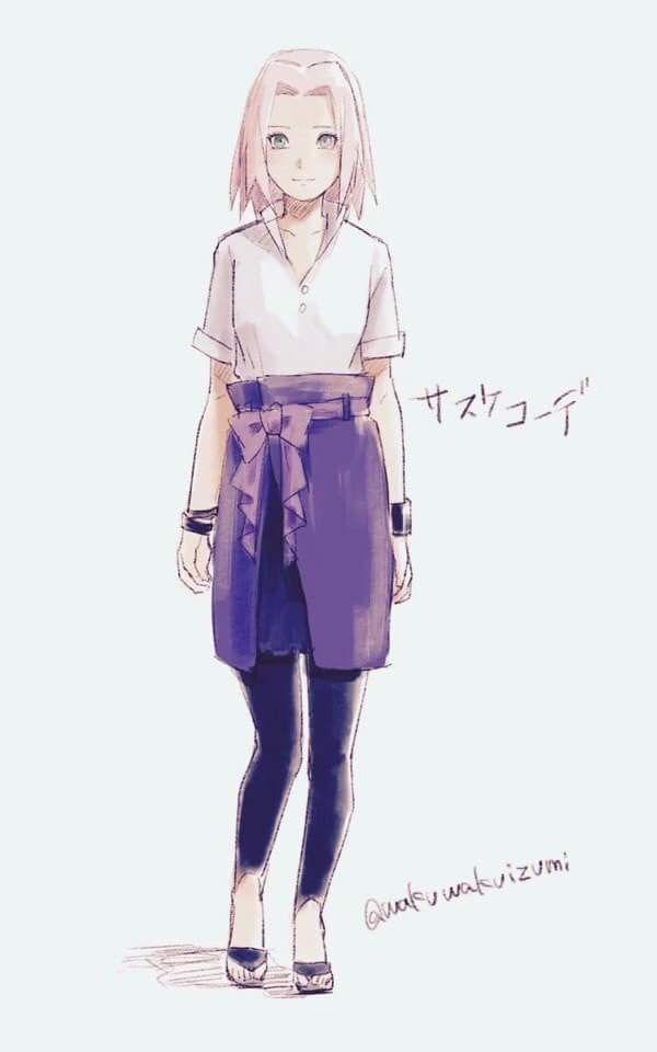 Sakura dressed up with Sasuke's clothes ❤️❤️❤️